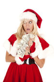 Mrs Santa money shocked — Stock fotografie
