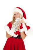 ミセス サンタお金にやにや笑い — ストック写真