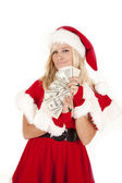 Mrs Santa money smirk — ストック写真