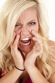 Woman anger face yell — Stock Photo