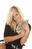 Woman black dress money sit smile — Stock Photo