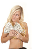 Woman greed genie money — Stock Photo