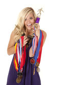 Woman proud of trophies — Stock Photo
