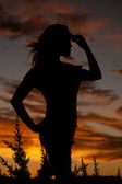 Woman silhouette woman face right cowgirl — Stock Photo