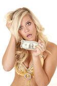 Woman worried last dollar — Stock Photo