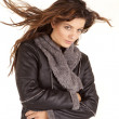 Gray coat woman hair blow look — Stock Photo
