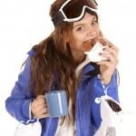 Ski girl donut mug — Stock Photo
