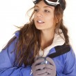 Ski woman mug looking side — Foto de Stock