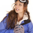 narciarski kobieta kubek patrząc po stronie — Zdjęcie stockowe
