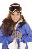 Ski girl mug looking — Stock Photo
