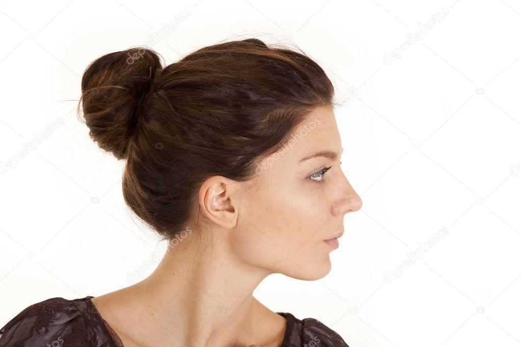 Голова девушки в профиль фото