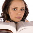 Woman book by face — Stock Photo