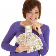 Greed pulling out money — Stock Photo