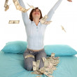 Throwing money air — Stock Photo