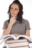 Visage de femme livres main — Photo