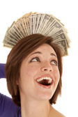 Greed money behind head — Stock Photo