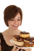 Happy plate of doughnuts — Stock Photo