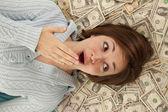 Head in money — Stock Photo