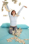 Throwing money air — Stock Photo