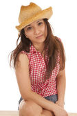 Cowgirl with hat smile — Stock Photo