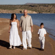 Family walk beach white — Stock Photo