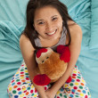 Pajamas bear top view happy - Stock Photo