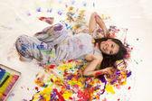 Paint lay on floor — Stock Photo