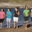 Family jogging together — Stock Photo