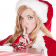 Mrs Santa present shhh — Stock Photo #12088308