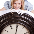 Princess on clock smiling — Stock Photo