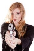 Pistola sonrisa rubio — Foto de Stock