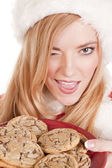 Mrs Santa cookies wink — Stock Photo