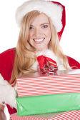 Mrs Santa holding presents big smile — Stock Photo