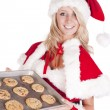 Stock Photo: Santas helper with pcookies