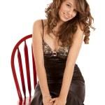 seduto nella sedia rossa — Foto Stock