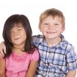 Постер, плакат: Two kids friends smile