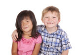 Two kids friends smile — Stock Photo