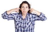 žena výraz modré prst uši — Stock fotografie