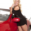 Black dress by red car — Stock Photo #12100231
