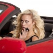 Blond woman phone car scared — Stock Photo