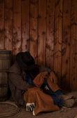 Cowboy sleep barrel — Stock Photo