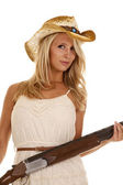 Shotgun girl gun — Stock Photo