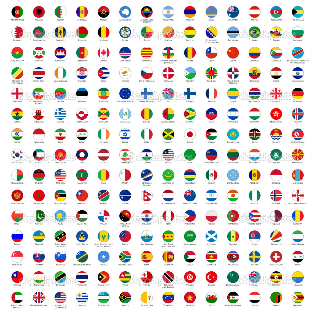 Circle flags of the world