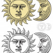 Vector illustration of Sun and Moon with faces - Image vectorielle