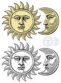 Illustrazione vettoriale del sole e della luna con facce — Vettoriale Stock