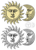 Vector illustration of Sun and Moon with faces — Vector de stock