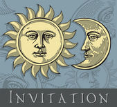 Sun and Moon with faces in engraved style — Stock Vector