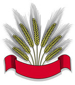 Vector illustration of isolated bunch of wheat with ribbon — Stock Vector