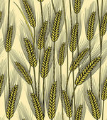 Vector illustration of seamless wheat ears background — Stock Vector