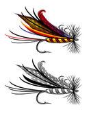 Vektorové ilustrace rybaření fly — Stock vektor